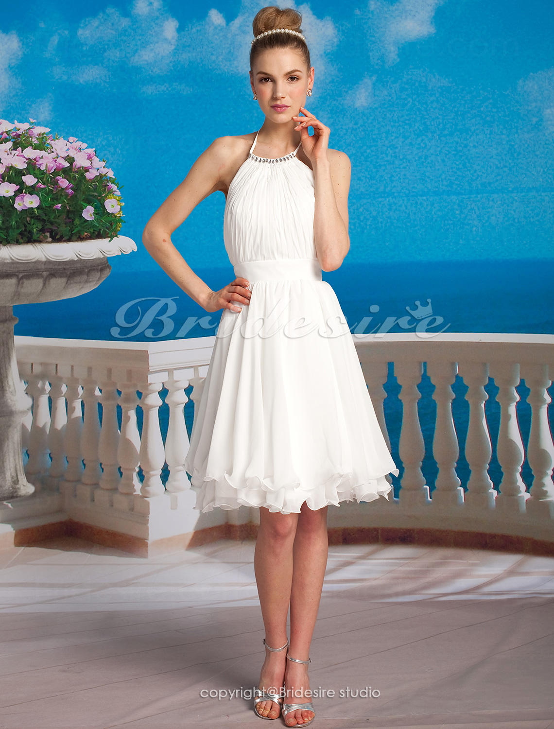 A-line Chiffon Knee-length Halter Wedding Dress