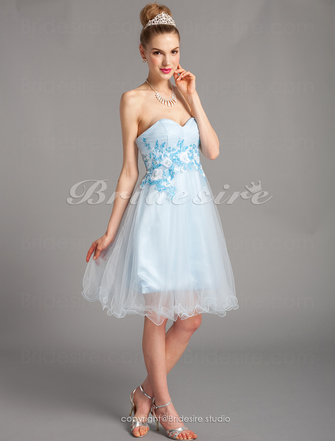 A-line Strapless Sweetheart Stretch Satin And Tulle Short/Mini Evening Dresses