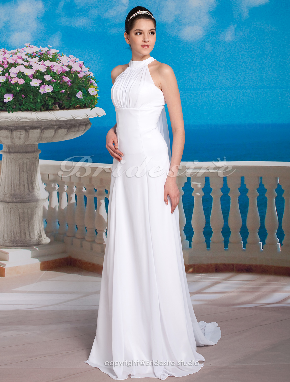 Sheath/ Column Chiffon Satin Watteau Train Halter Wedding Dress