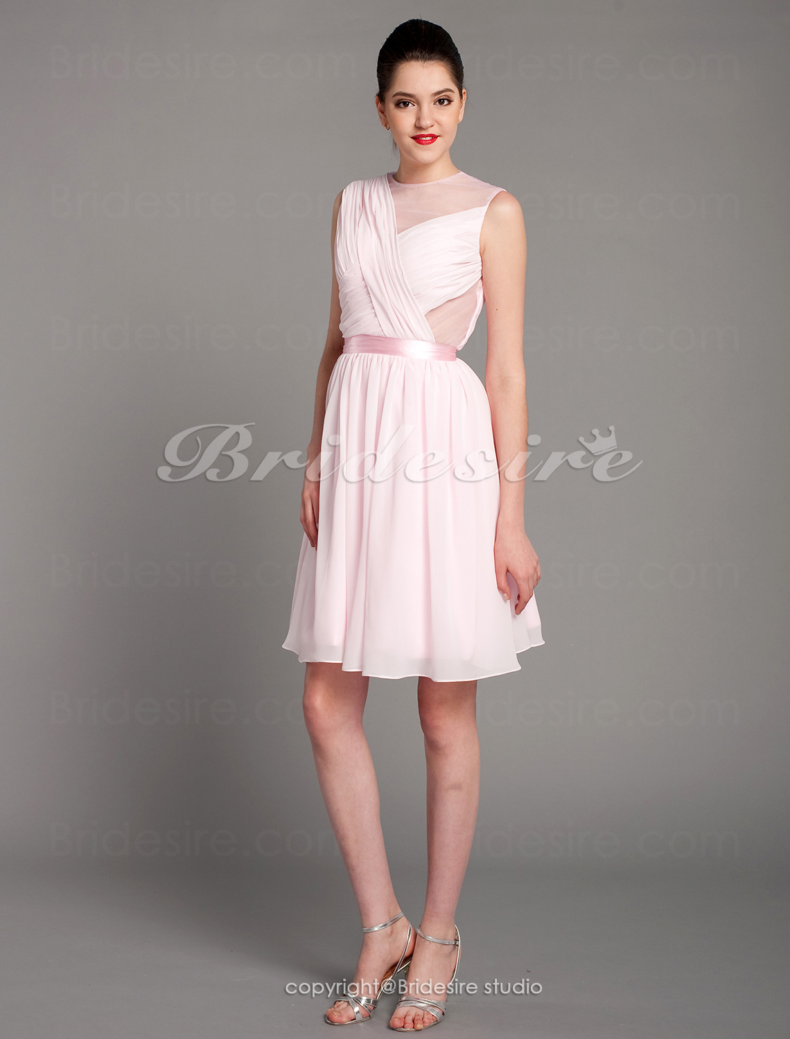 A-line Chiffon Short/ Mini V-neck Cocktail Dress