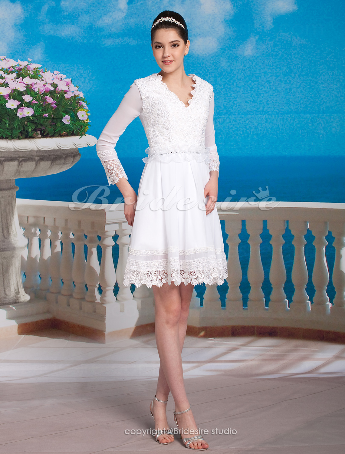 A-line Chiffon Lace Knee-length V-neck Wedding Dress