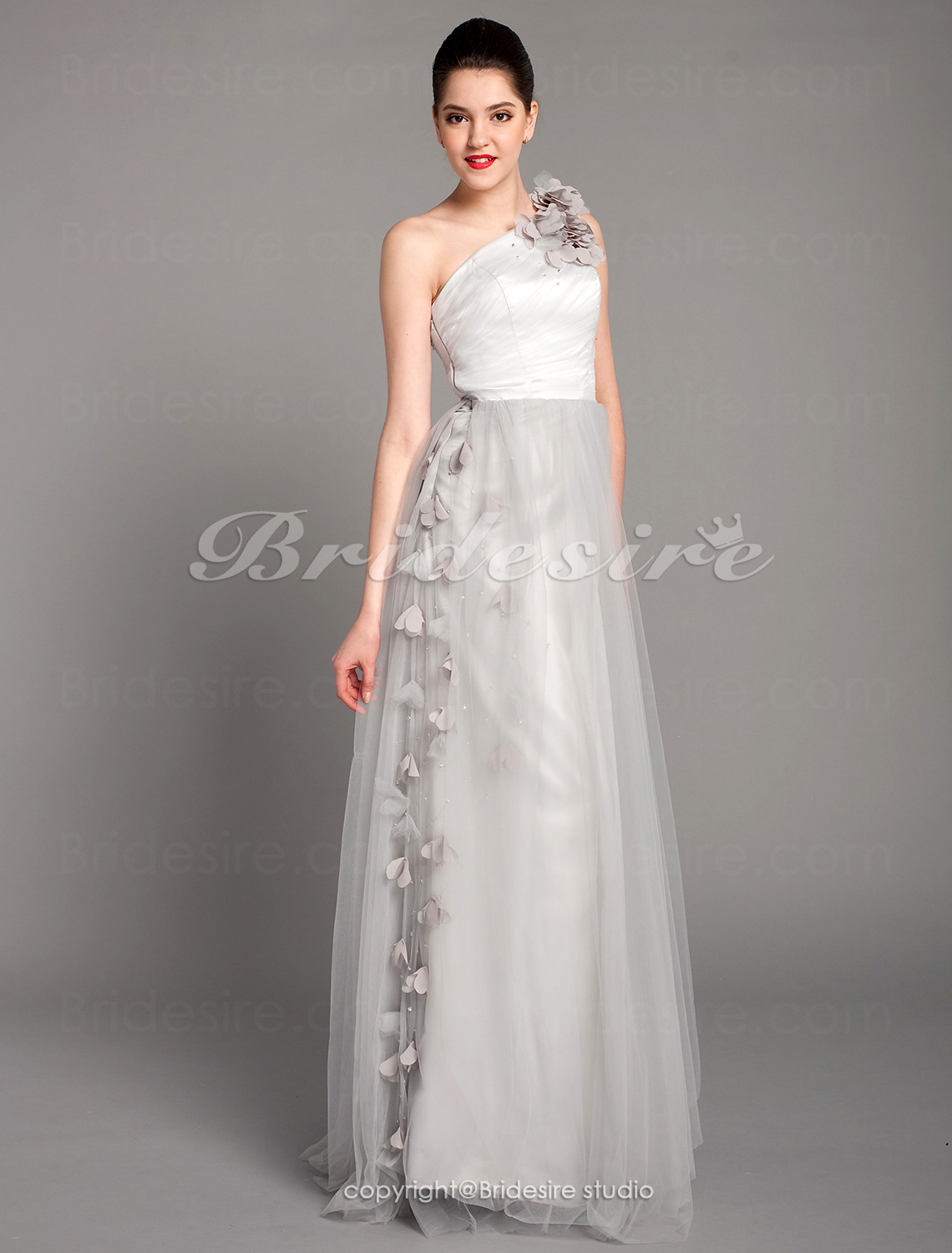 A-line Tulle Floor-length One Shoulder Evening Dress