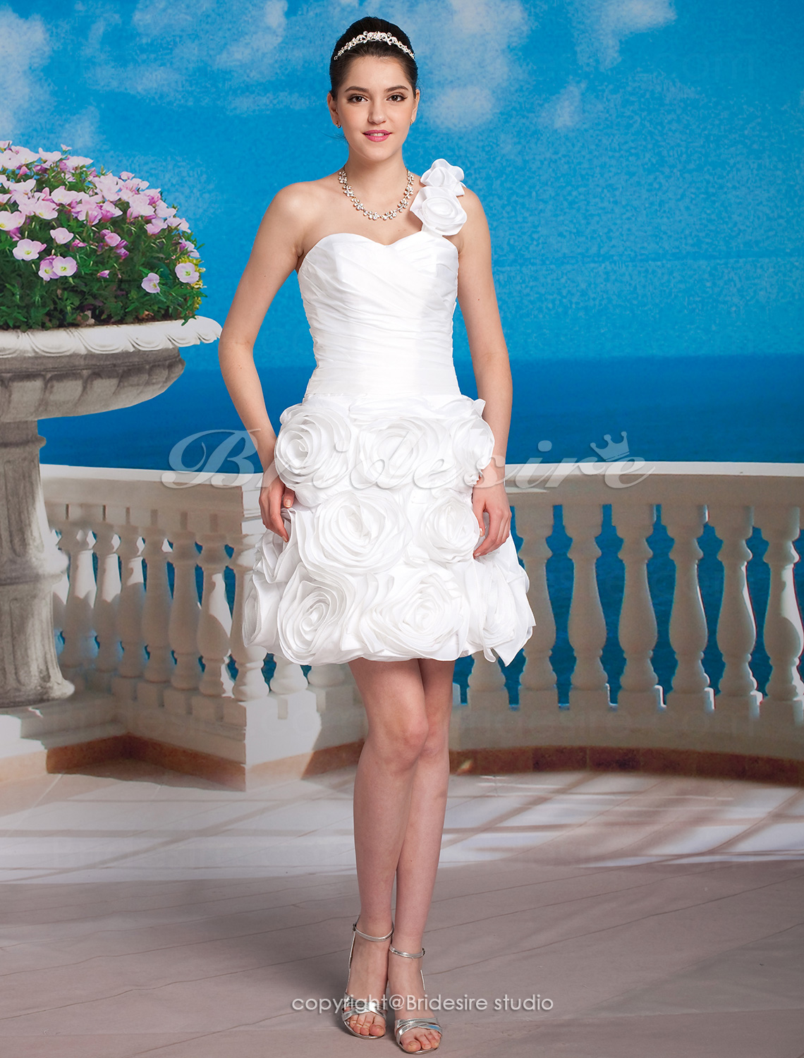 Ball Gown Taffeta Short/Mini One Shoulder Wedding Dress