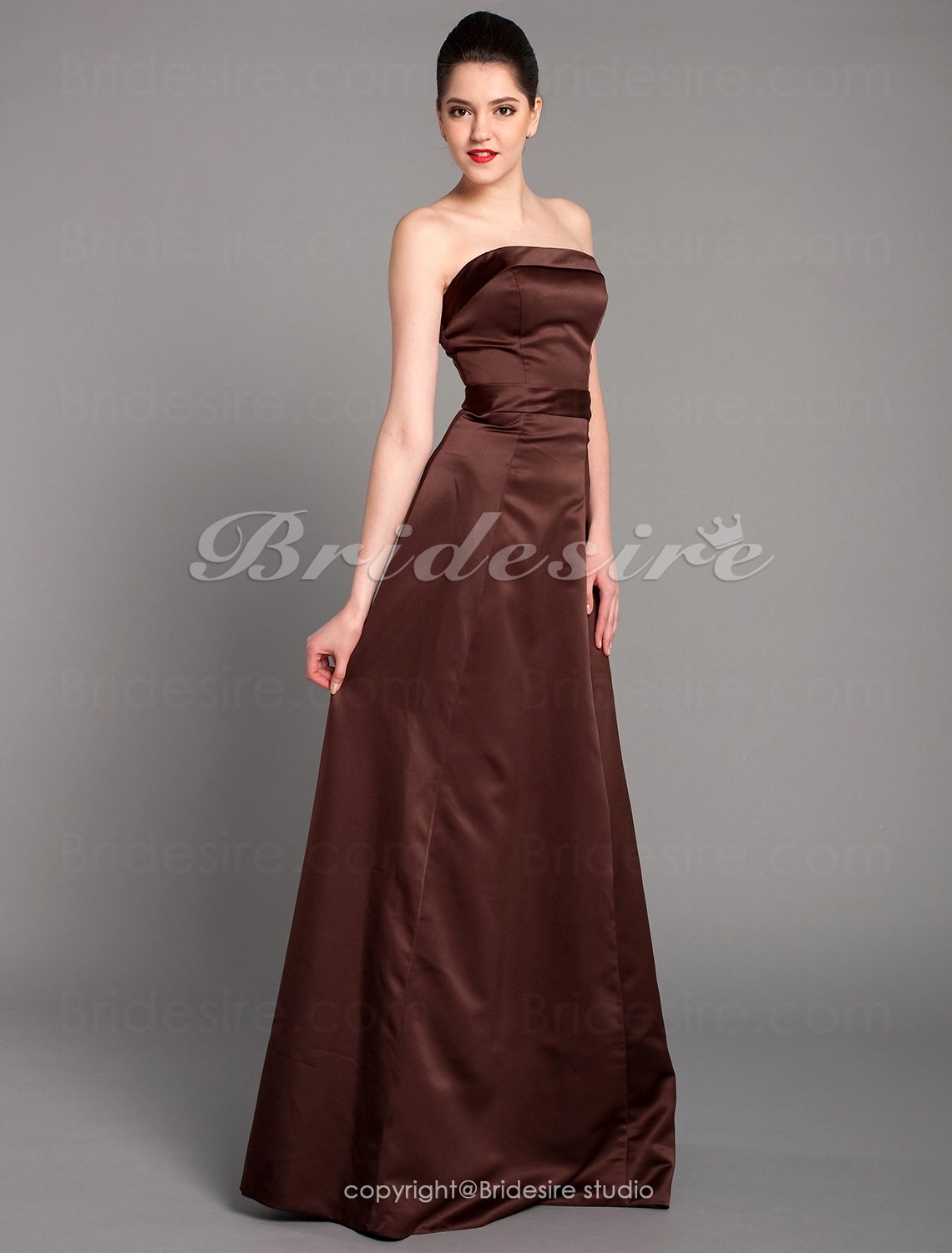 A-line Sleeveless Spaghetti Straps Satin Ankle-length Bridesmaid Dress