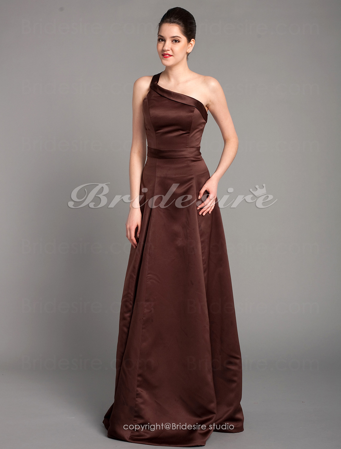 A-line Sleeveless One Shoulder Satin Ankle-length Bridesmaid Dress