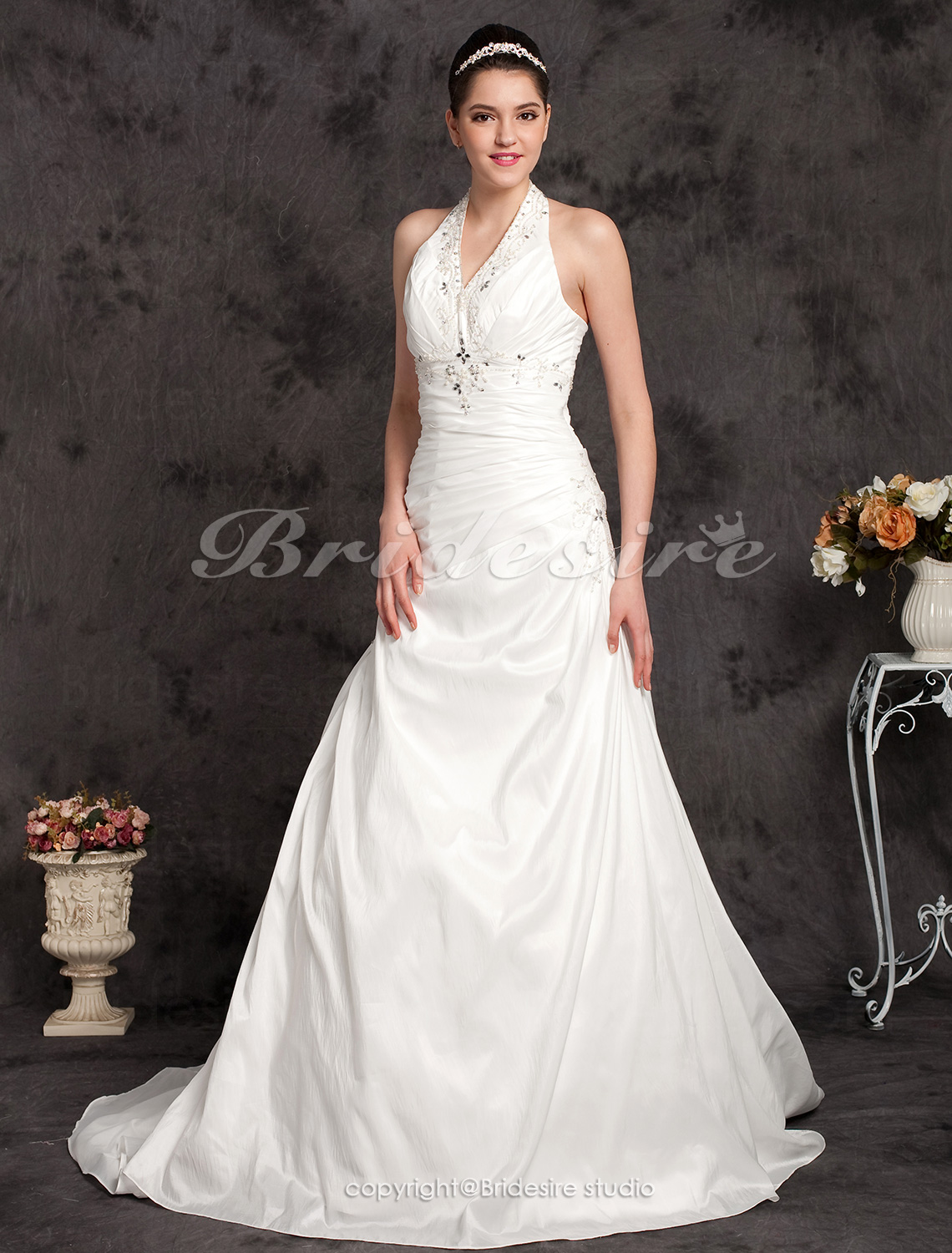 A-line Taffeta Chapel Train Halter Wedding Dress