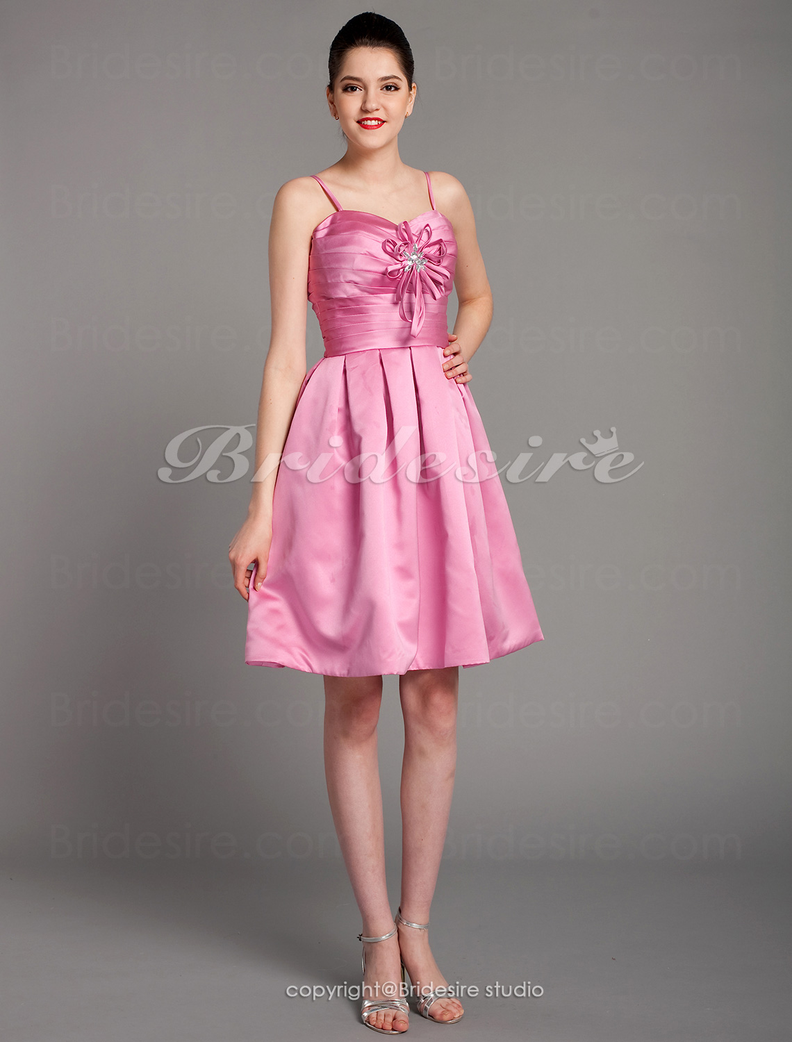 A-line Satin Knee-length Sweetheart Bridesmaid Dress With Criss Cross