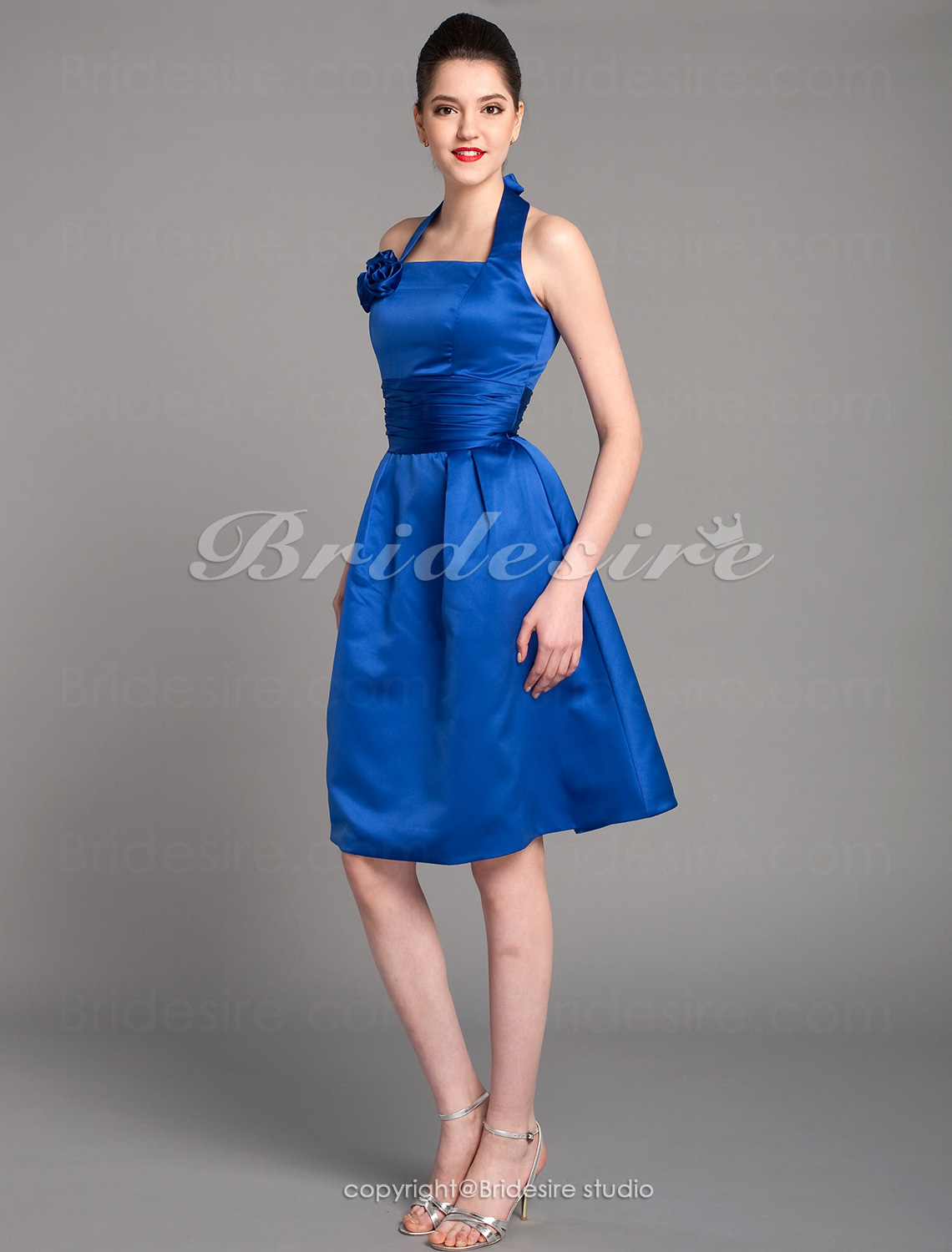 A-line Satin Knee-length Halter Bridesmaid Dress