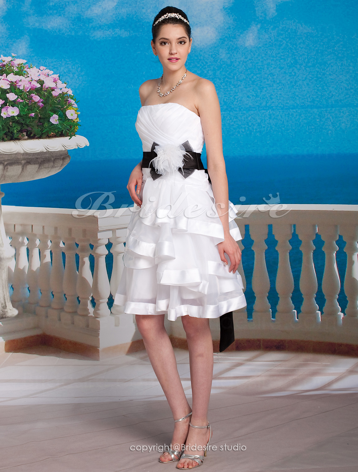 A-line Satin And Organza Short/Mini Sweetheart Wedding Dress With Removable belt