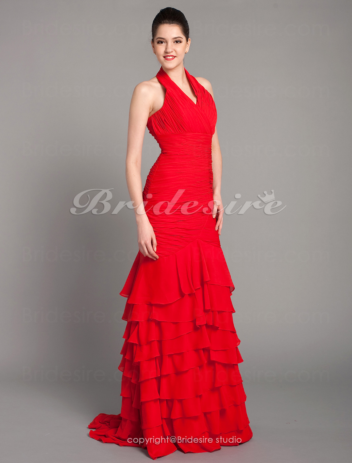 Trumpet/Mermaid Chiffon Sweep/Brush Train Haulter Evening Dress