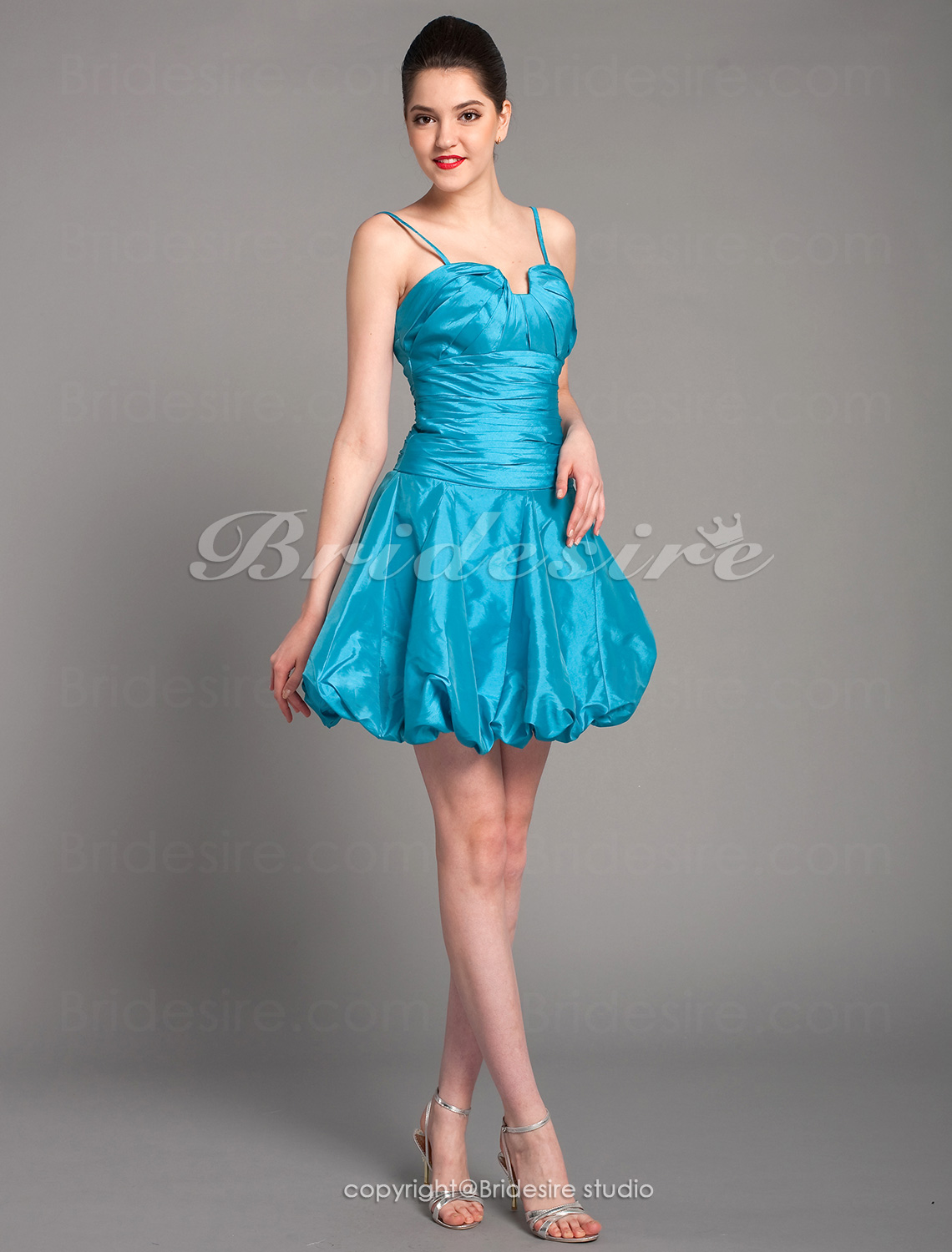 A-line Taffeta Short/Mini Strapless Cocktail Dress