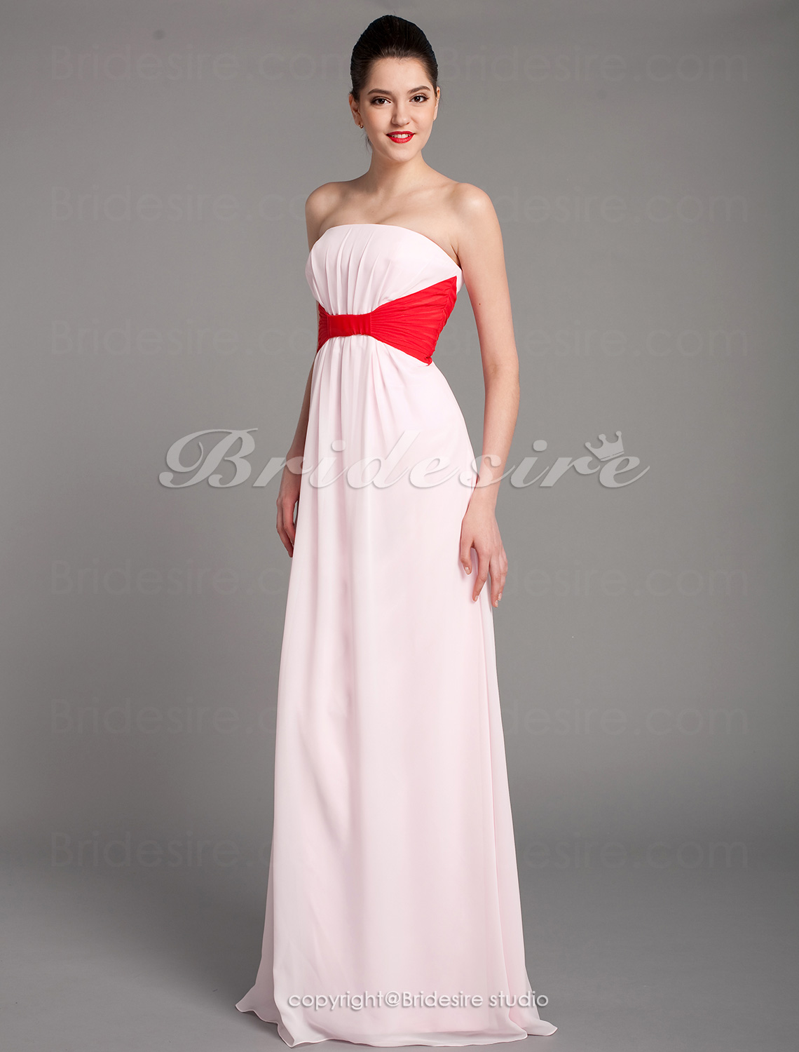 Sheath/Column Chiffon Floor-length Straps Bridesmaid Dress with Removale Straps