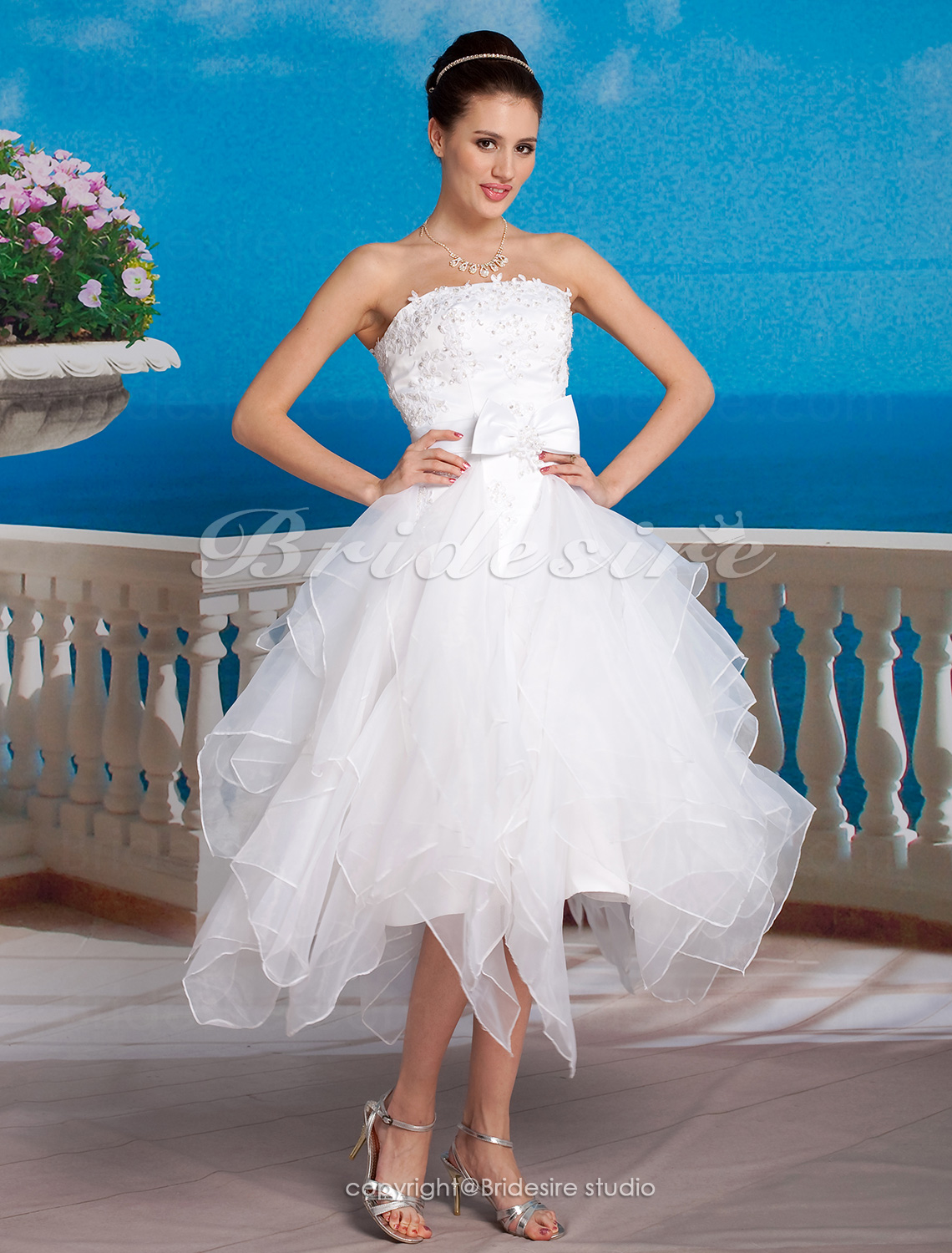 Ball Gown Organza Asymmetrical Strapless Wedding Dress With Removable Cathedral Train