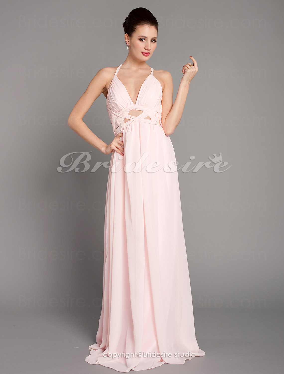 Sheath/ Column Chiffon Floor-length V-neck Evening Dress inspired by Elisabetta Canalis at Golden Globe