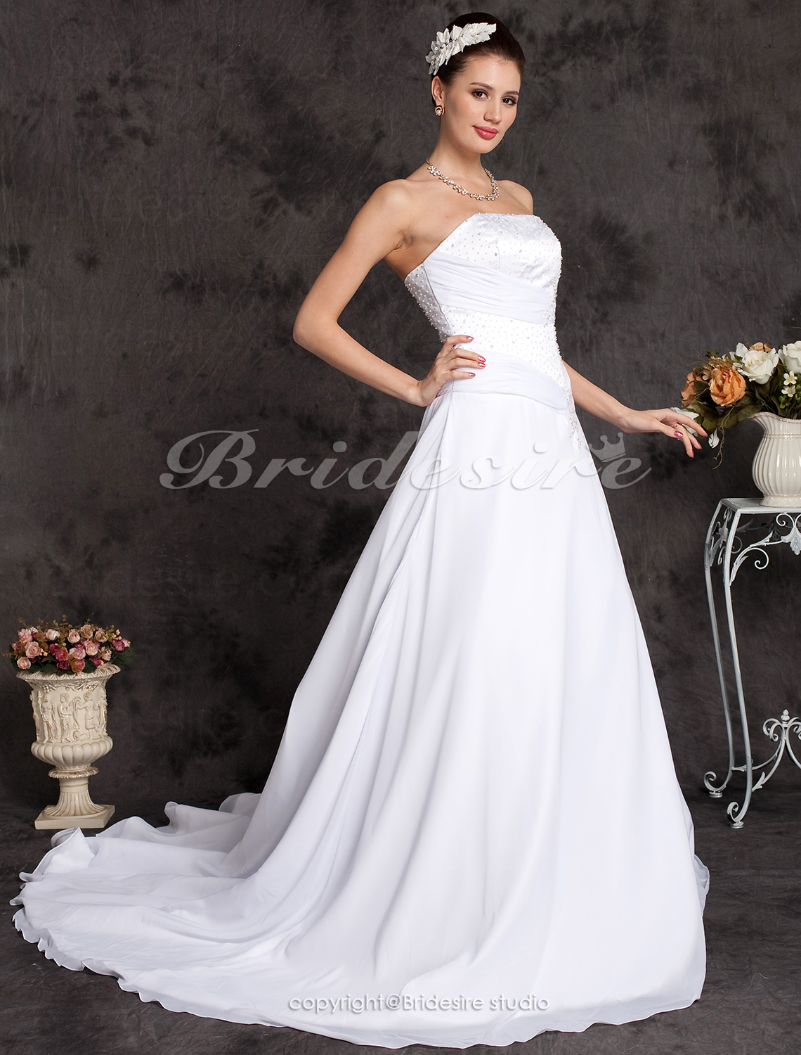 Ball Gown Chiffon Over Satin Cathedral Train Strapless Wedding Dress