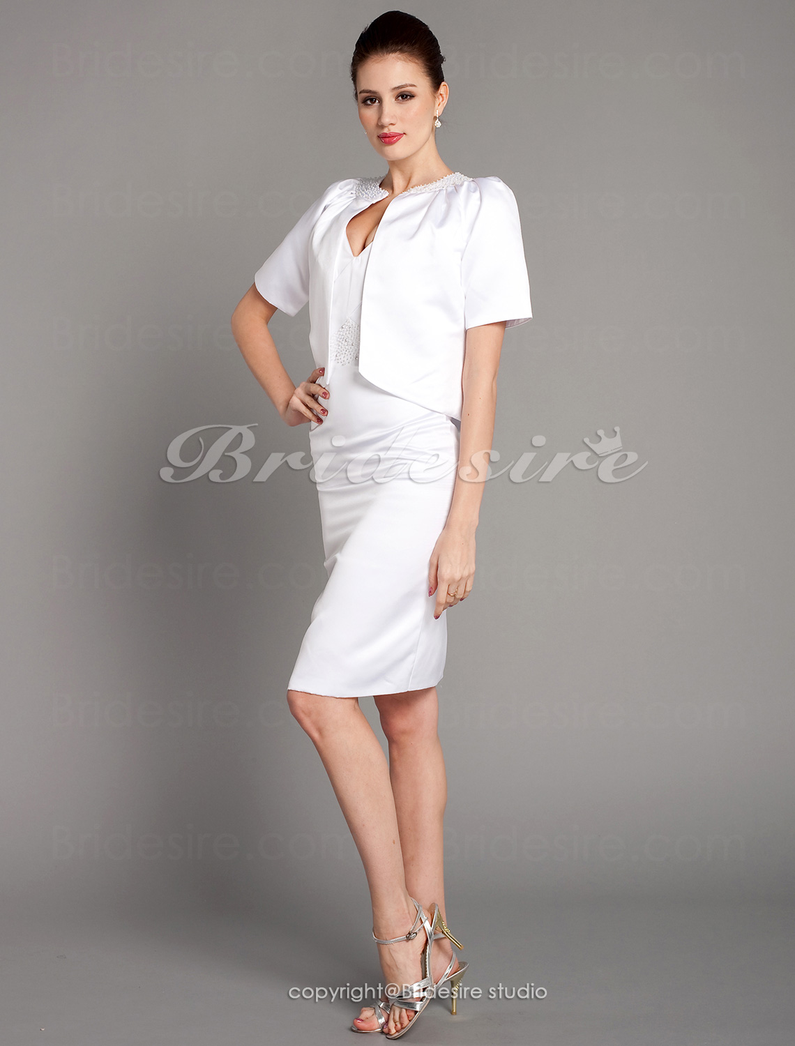 Sheath/ Column Satin Knee-length V-neck Bridesmaid/ Wedding Party Dress With A Wrap