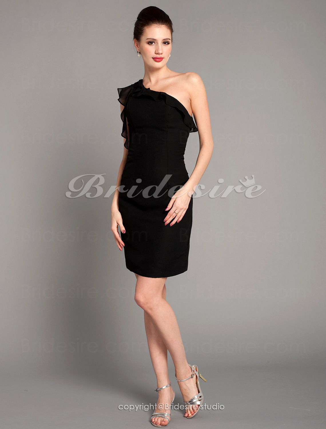 Sheath/ Column Chiffon Short/ Mini One Shoulder Cocktail/ Homecoming Dress