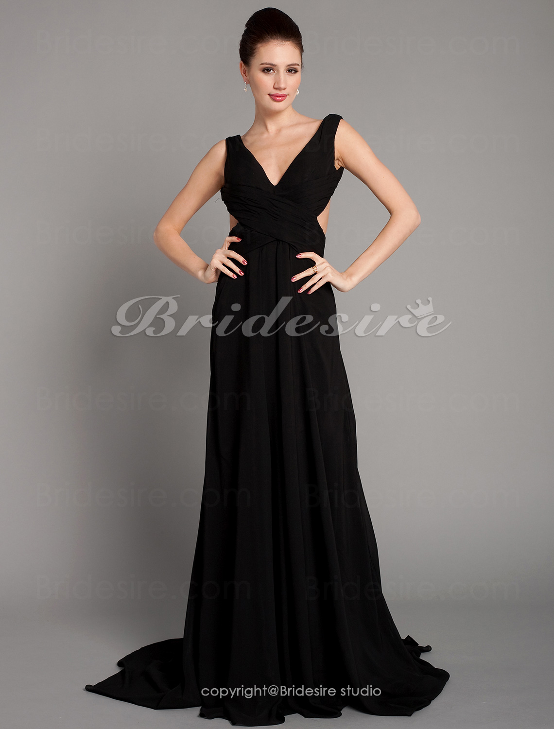 A-line Elastic Woven Satin Chiffon Court Train V-neck Evening Dress