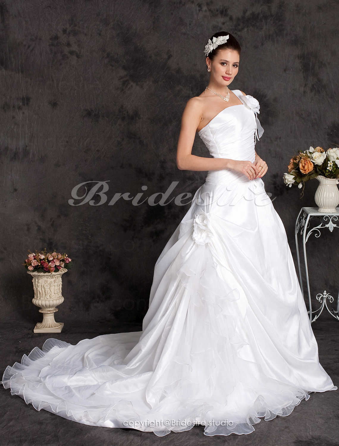 A-line Taffeta Cathedral Train One Shoulder Wedding Dress