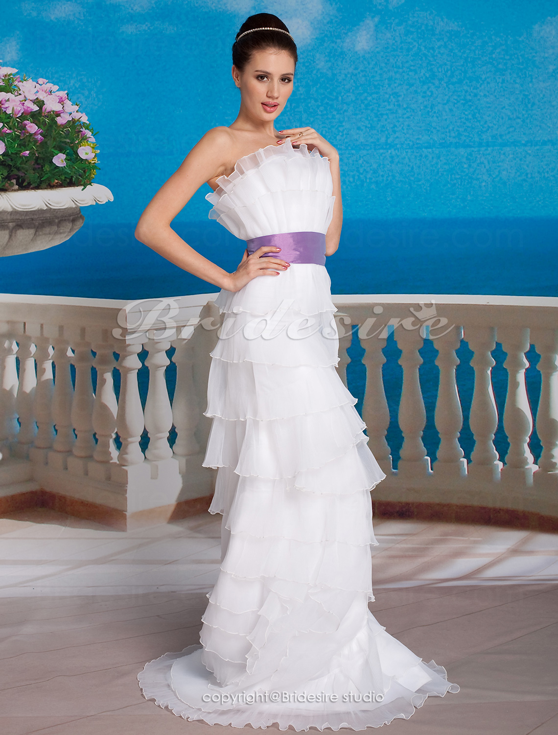Sheath/ Column Organza Floor-length Scalloped-Edge Neckline Wedding Dress