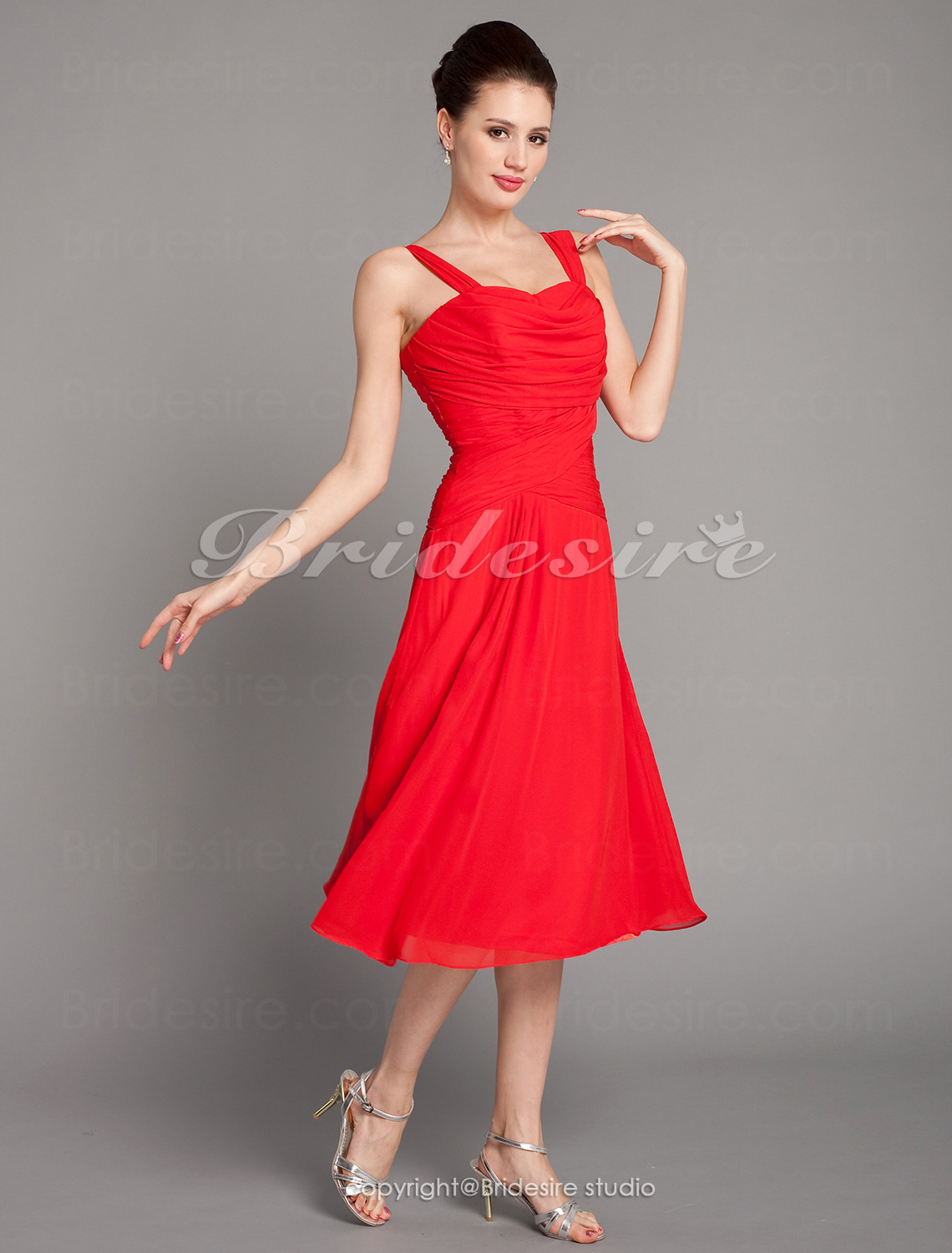 A-line Chiffon Tea-length Sweetheart Princess Bridesmaid Dress