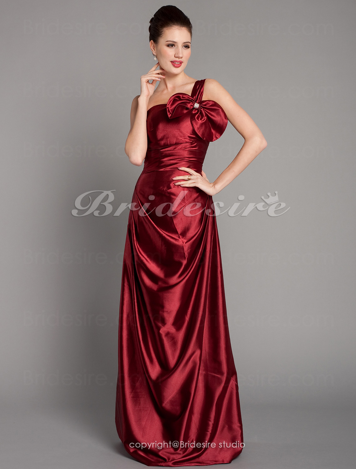 A-line Stretch Satin Floor-length One Shoulder Bridesmaid Dress