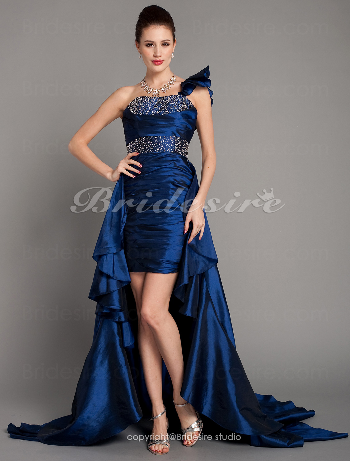 Sheath/Column Taffeta One Shoulder Sweep/Brush Train Cocktail Dress