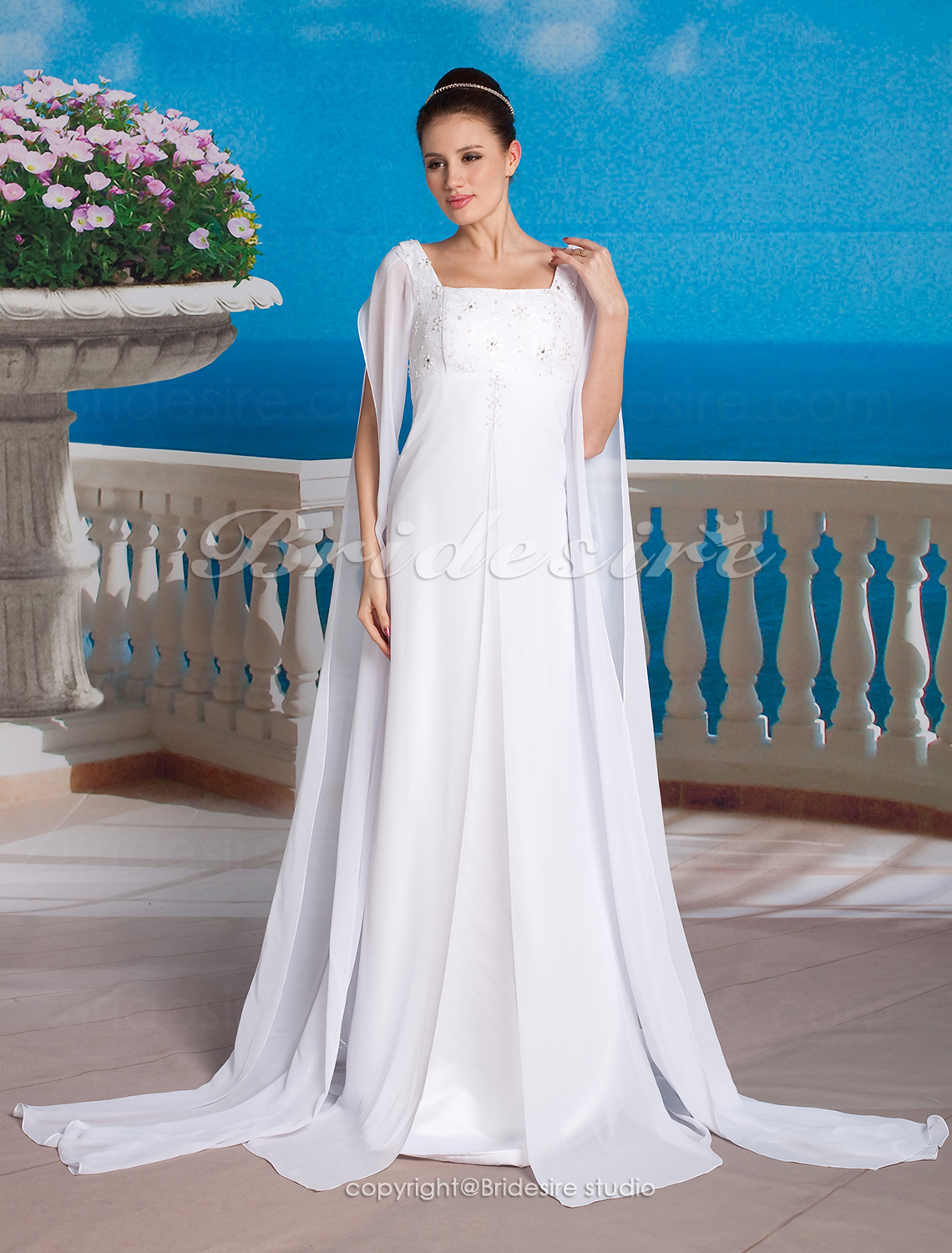 Sheath/ Column Chiffon Square Floor-length Empire Maternity Long Sleeve Wedding Dress