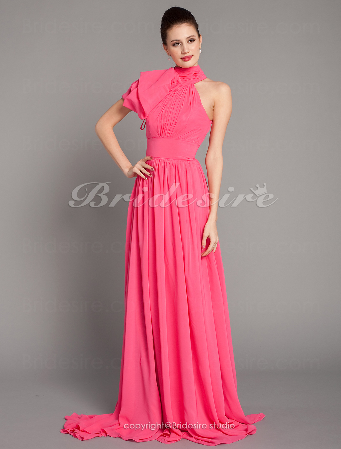 A-line Chiffon High Neck Court Train Evening Dress inspired by Emma Stone at the 84th Oscar