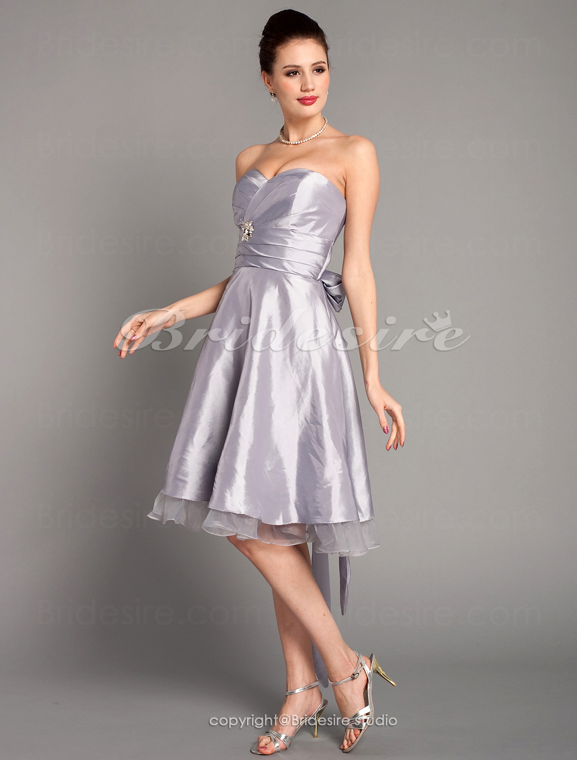 A-line Knee-length Organza Over Taffeta Organza Strapless Sweetheart Bridesmaid Dress