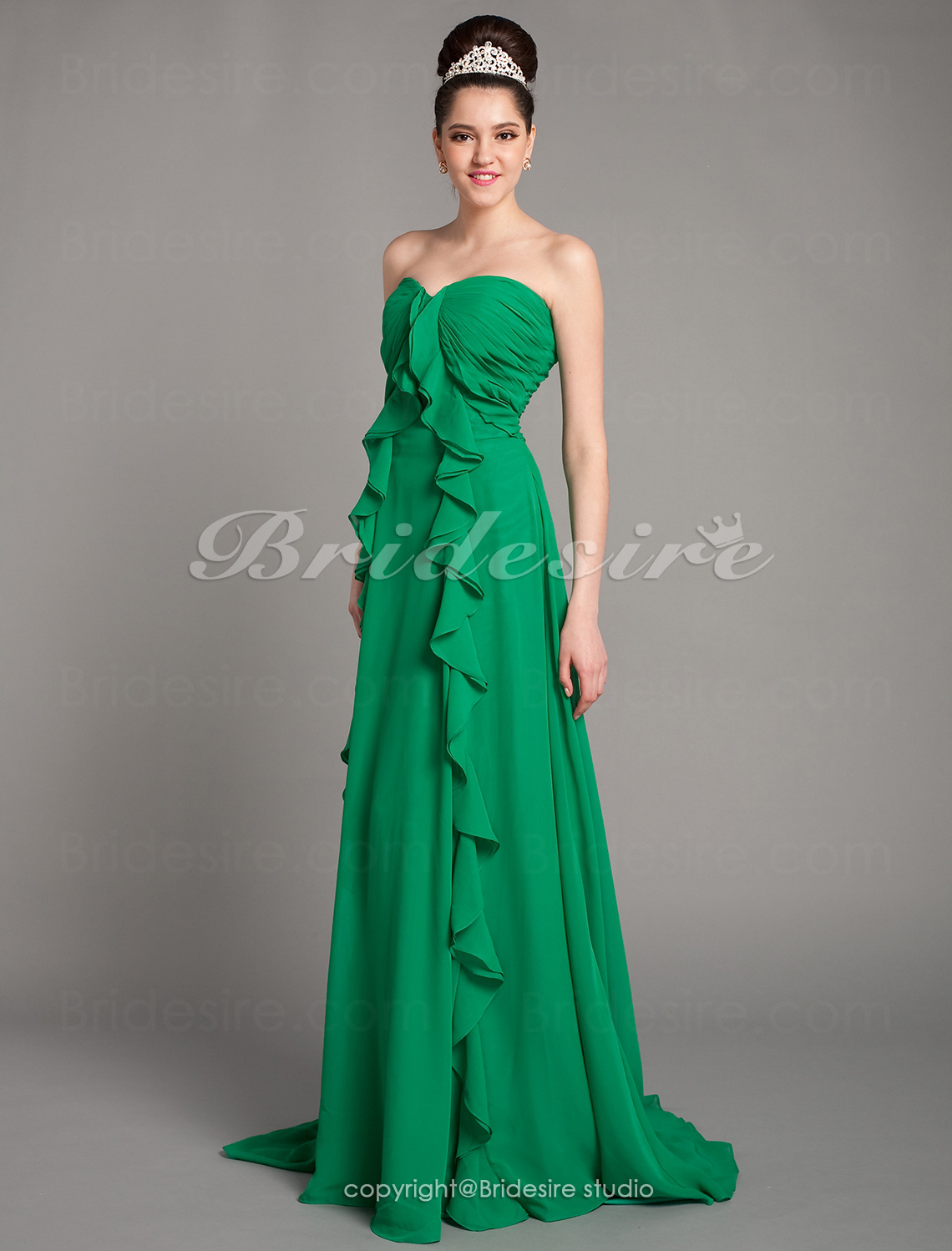 A-line Chiffon Court Train Sweetheart Evening Dress inspired by Elisabeth Moss at Emmy Award
