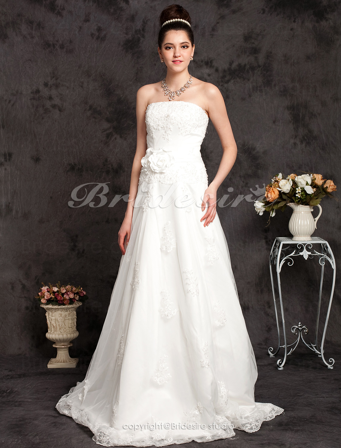 A-line Satin Sleeveless Court Train Strapless Wedding Dress