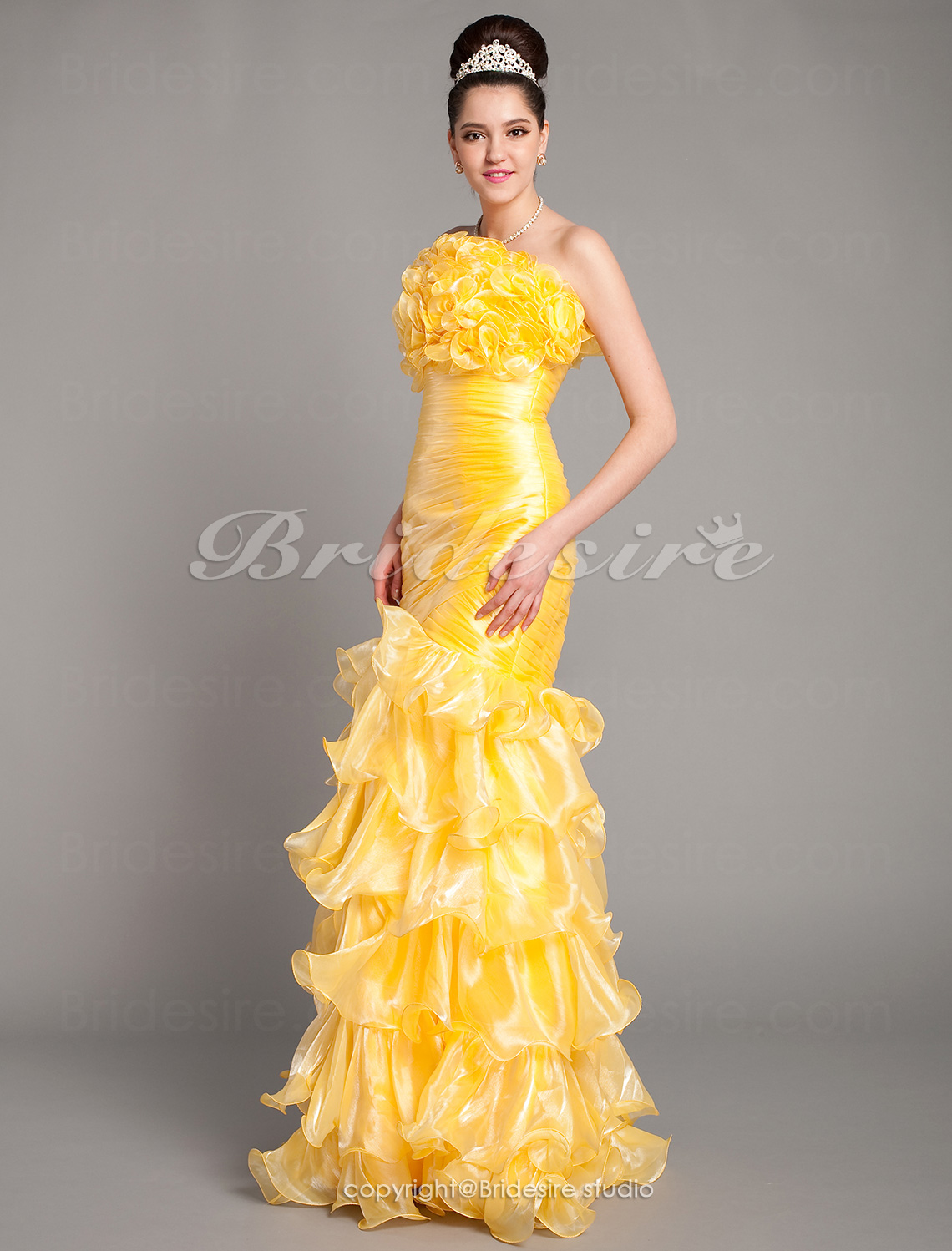 Trumpet/ Mermaid Floor-length Strapless Taffeta Organza Evening Dress