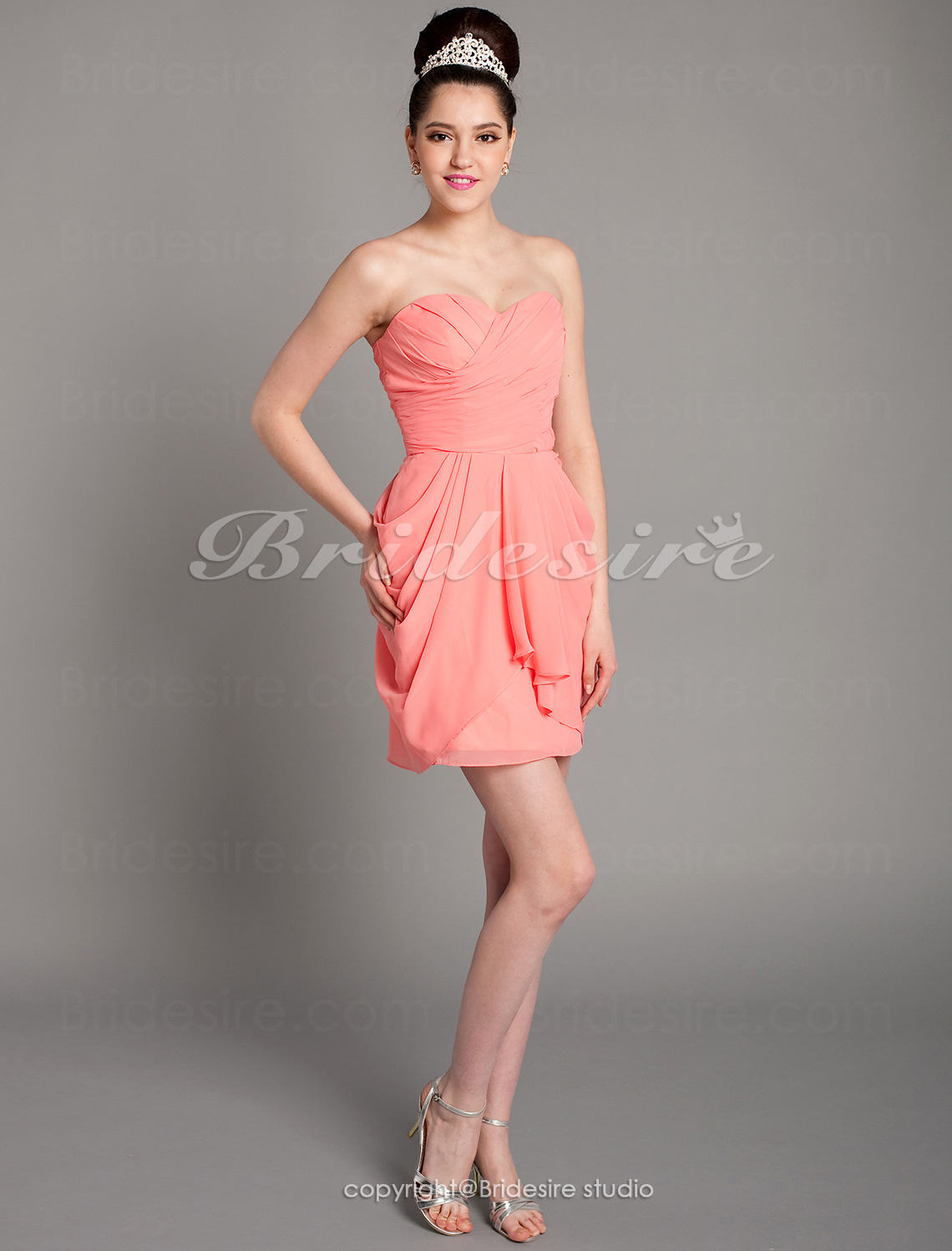 Sheath/ Column Short/ Mini Chiffon Sweetheart Bridesmaid Dress