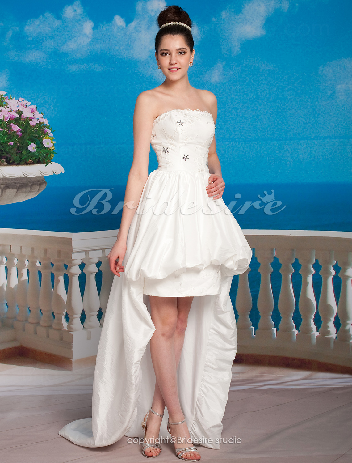 A-line Satin Asymmetrical Strapless Wedding Dress