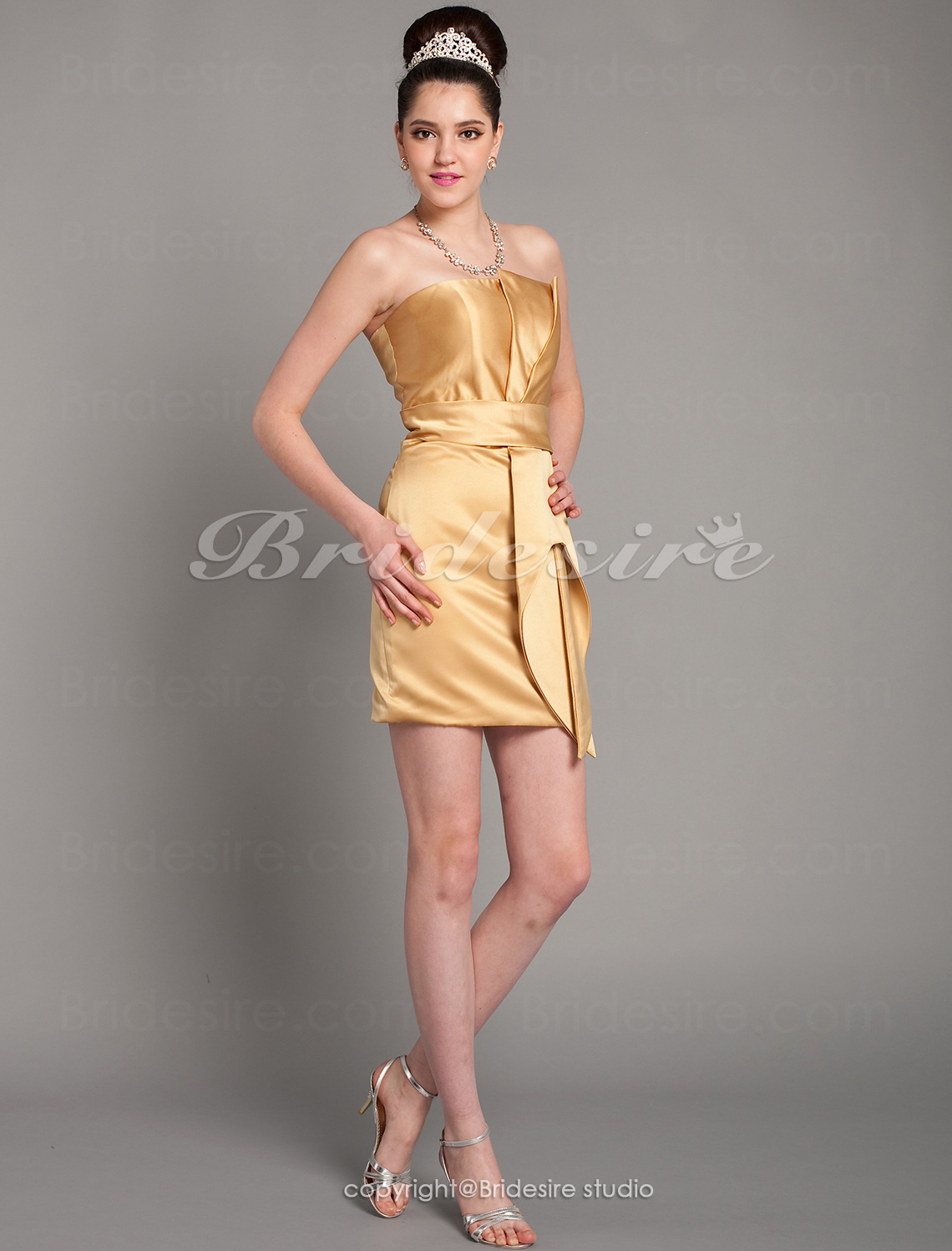 Sheath/ Column Short/ Mini Satin Strapless Cocktail Dress inspired by Anne Hathaway