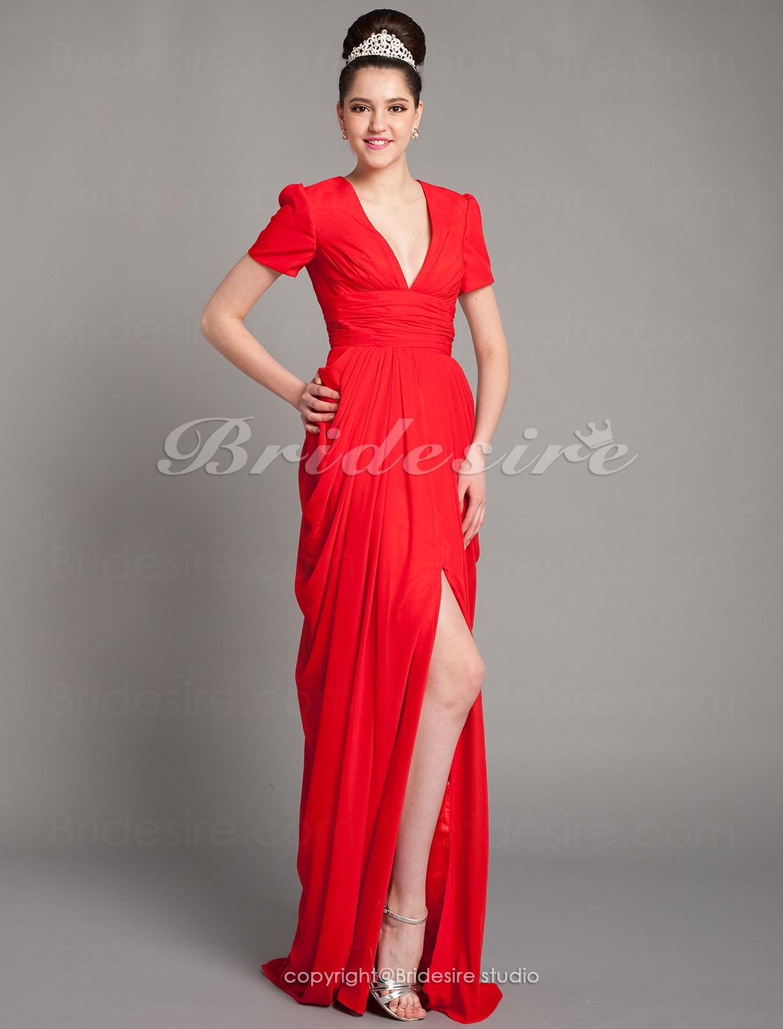 Sheath/ Column Chiffon Floor-length V-neck Evening Dress inspired by Katharine Mcphee