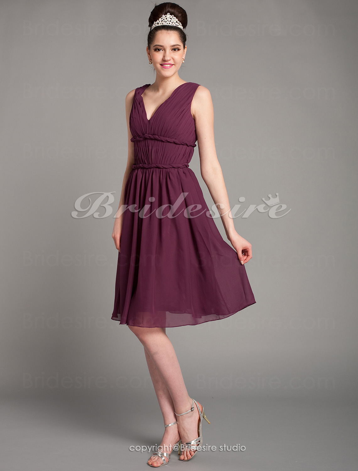 A-line Knee-length Chiffon Off-the-shoulder Bridesmaid Dress