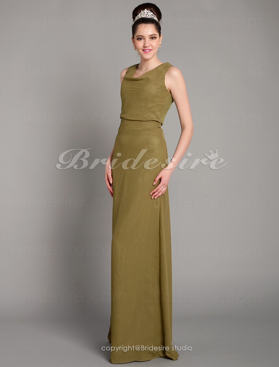 Sheath/ Column Floor-length Chiffon Cowl Bridesmaid Dress