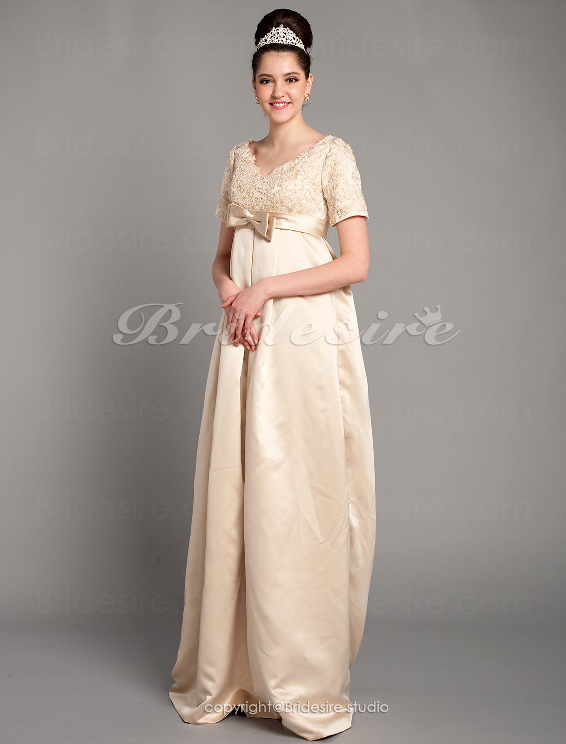 Sheath / Column Satin V-neck Floor-length Empire Maternity Wedding Dress