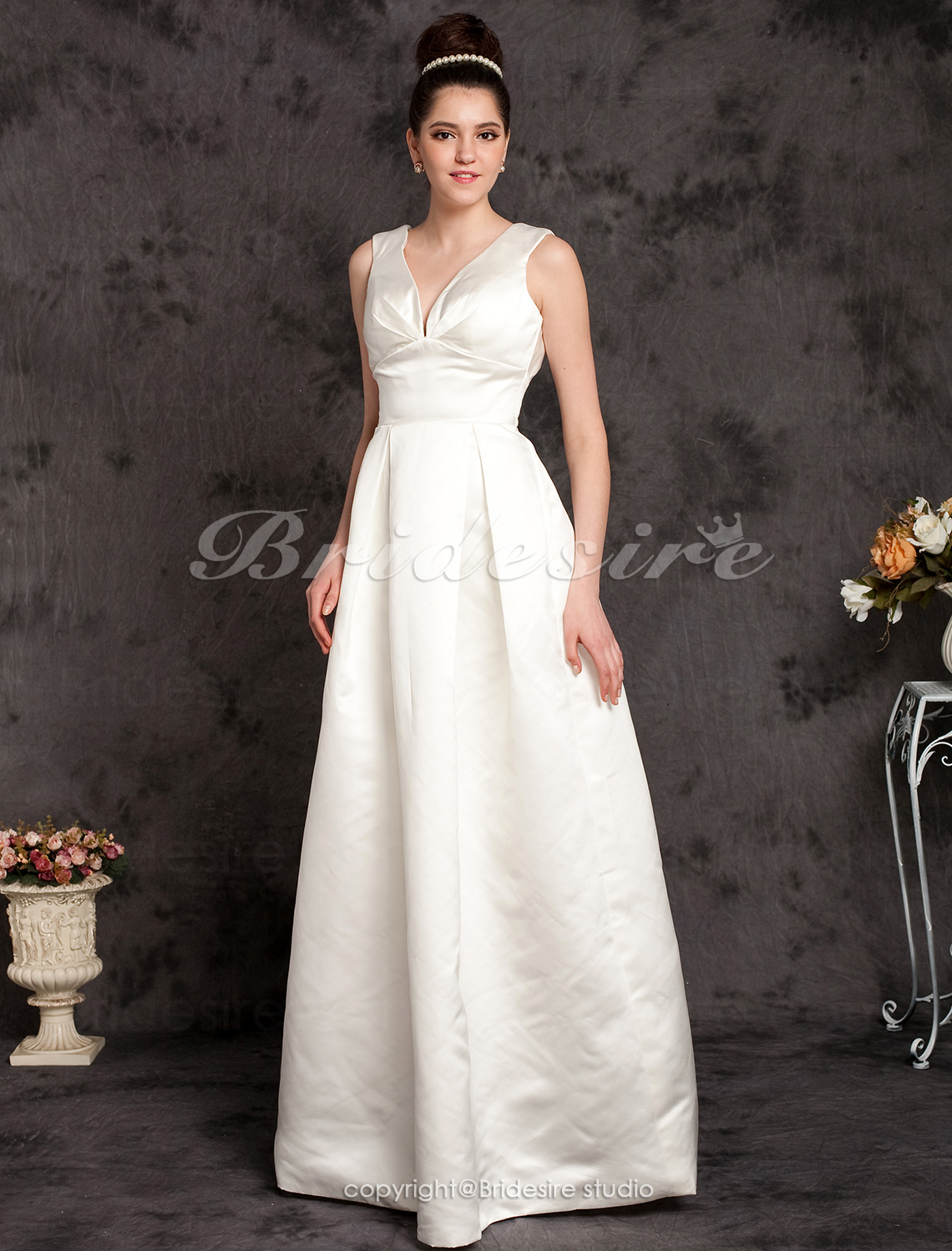 A-line Satin Floor-length V-neck Wedding Dress