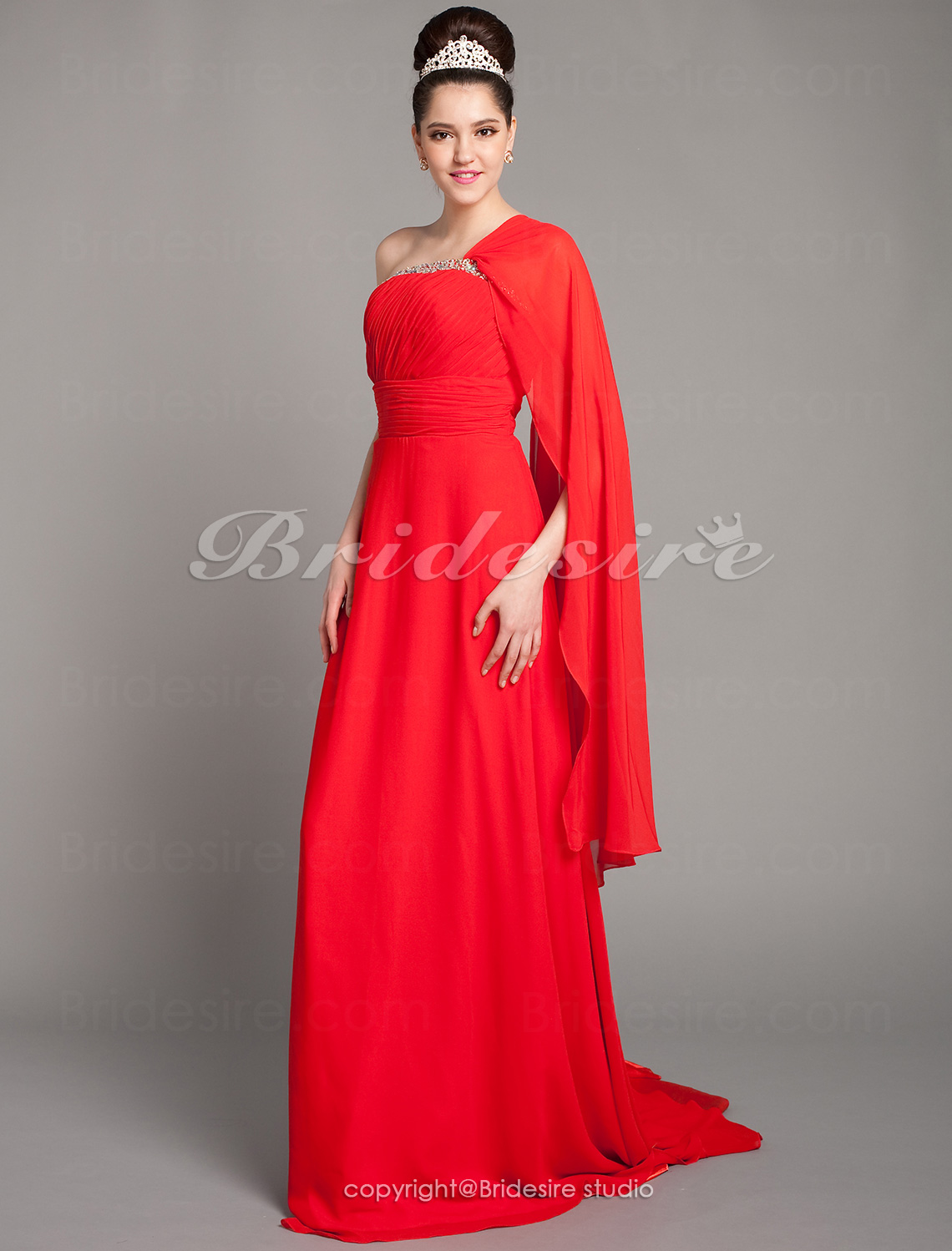Sheath/Column Chiffon Court Train One Shoulder Evening Dress With Beading