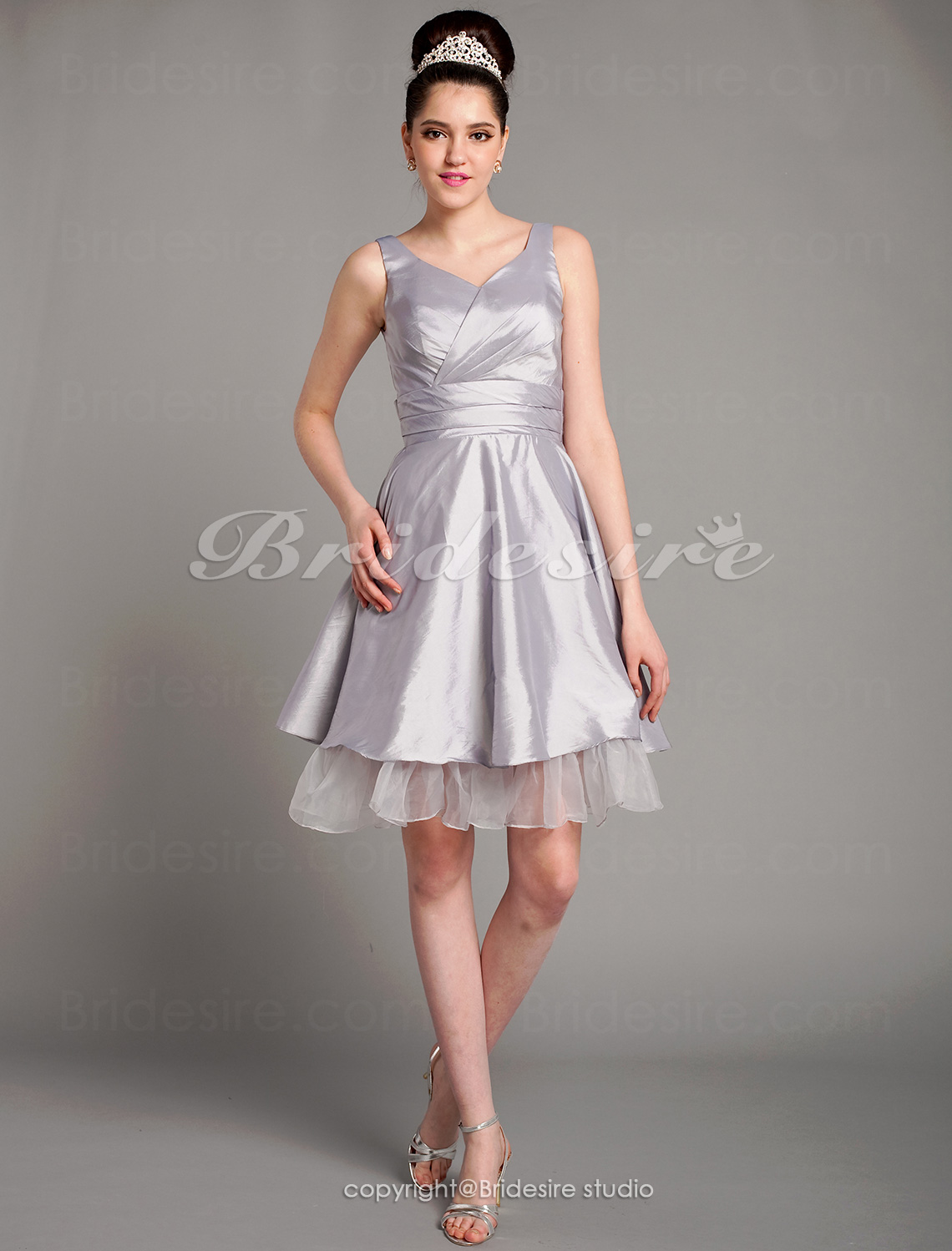 A-line Organza Over Taffeta Knee-length Straps Bridesmaid Dress