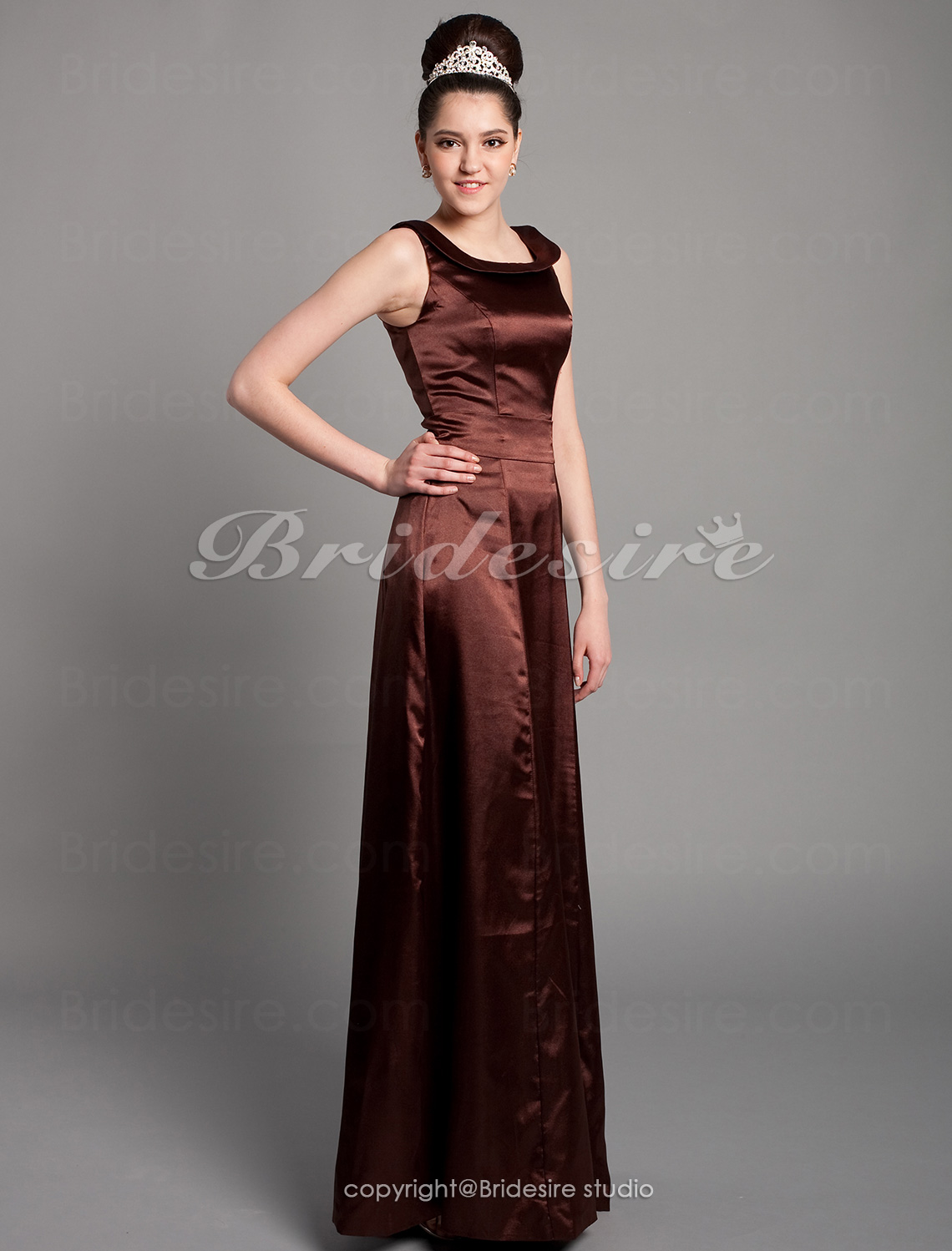 A-line Scoop Ankle-length Sleeveless Satin Sash/Ribbon Bridesmaid Dress