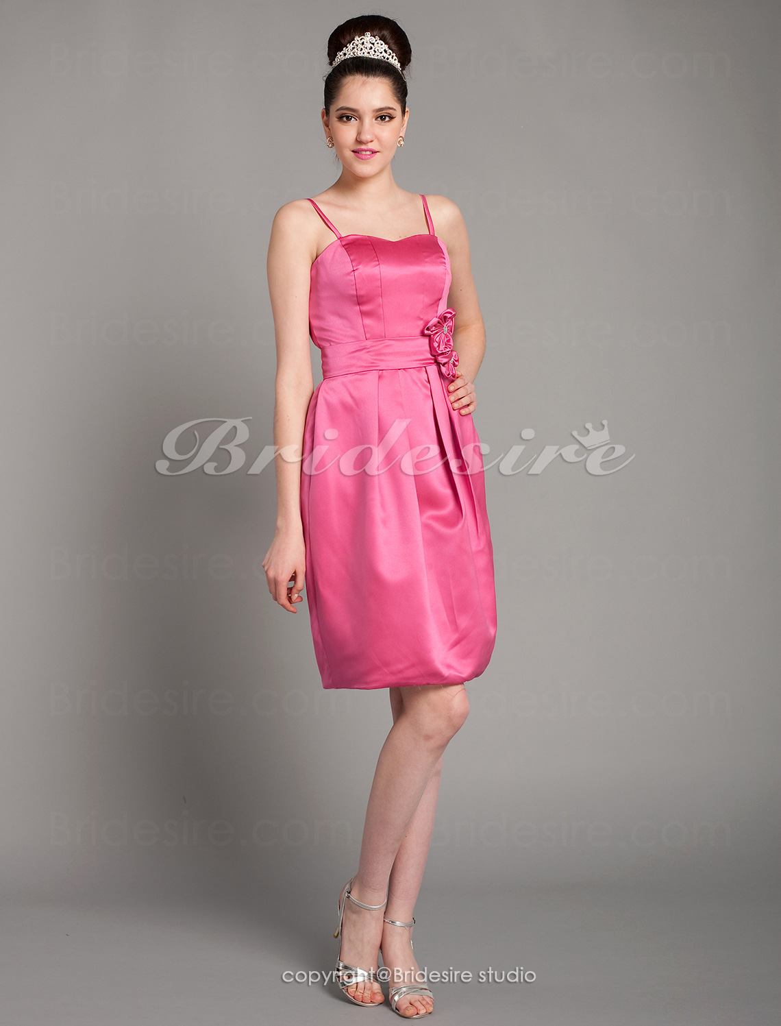 A-line Satin Knee-length Sweetheart Bridesmaid Dress With Flower(s)
