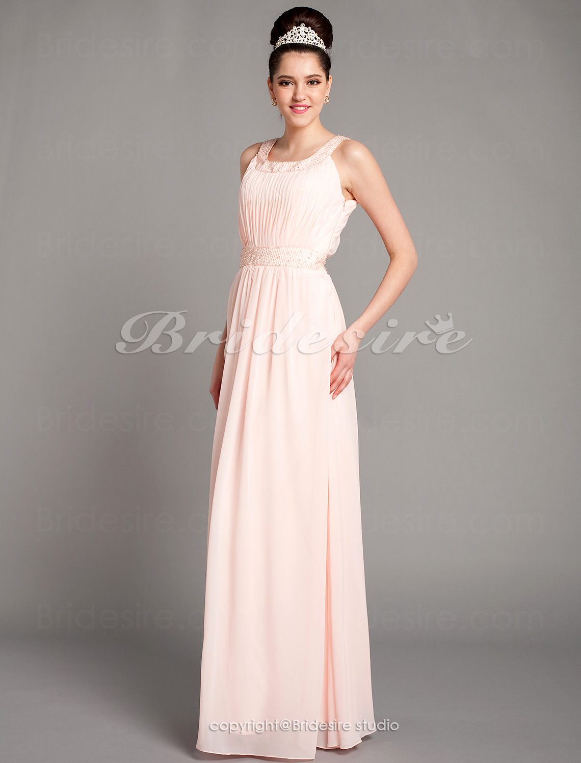 Sheath/Column Chiffon Floor-length Scoop Evening Dress With Beading