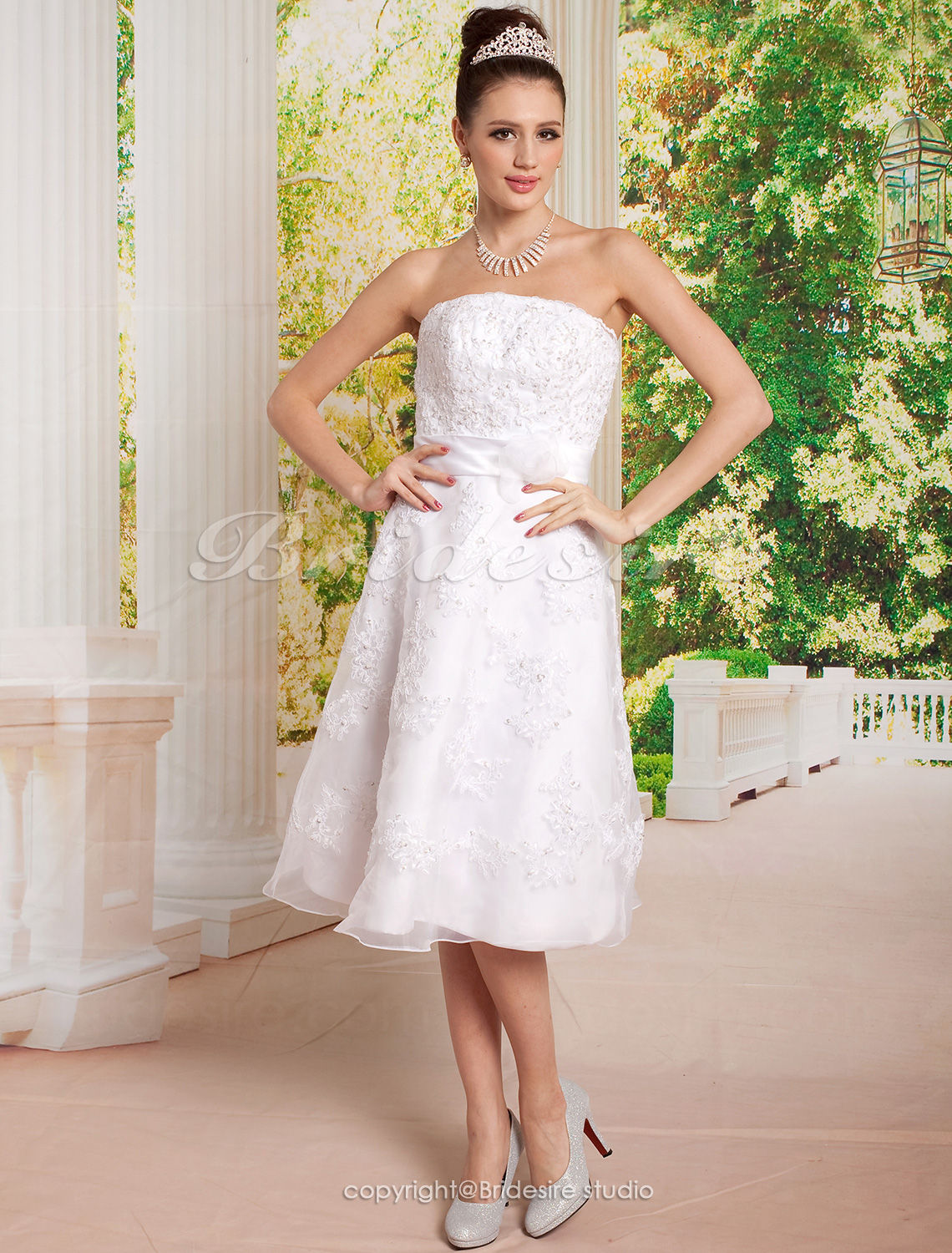 Sheath/Column Tea-length Strapless Wedding Dress with Beaded Appliques