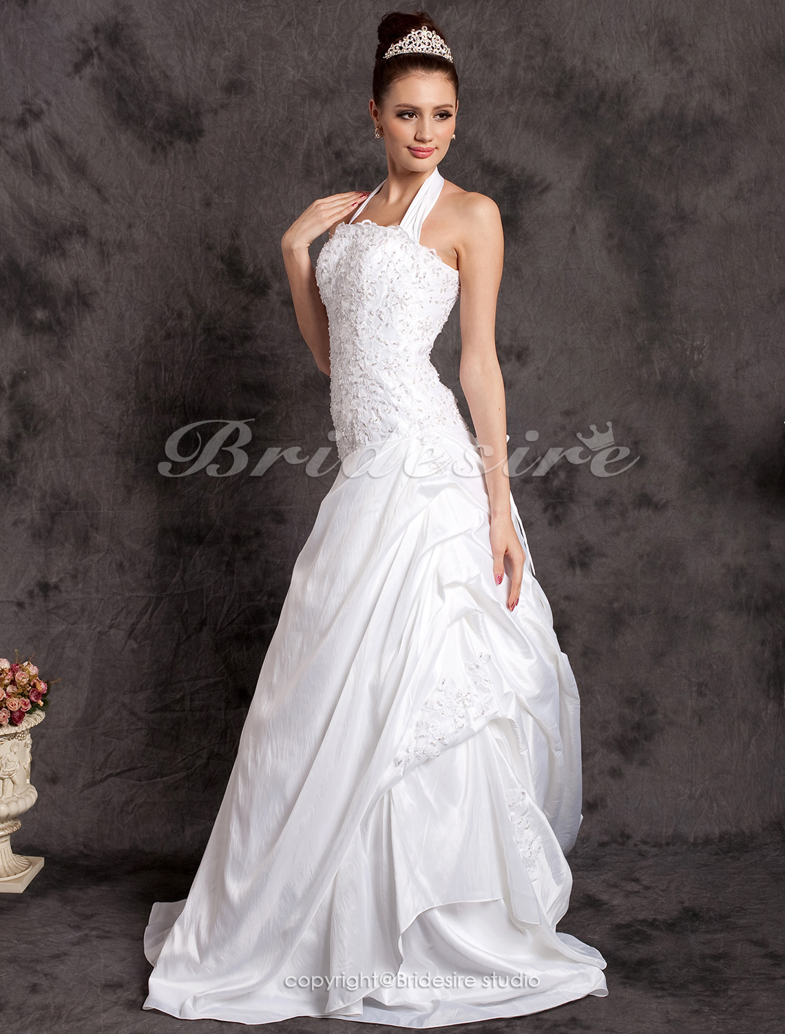 A-line Court Train Halter Wedding Dress With Beaded Appliques