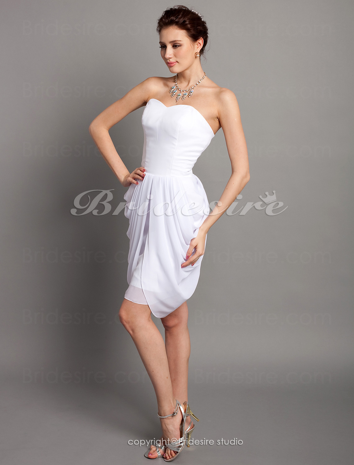 Sheath/ Column Knee-length Chiffon Sweetheart Bridesmaid Dress