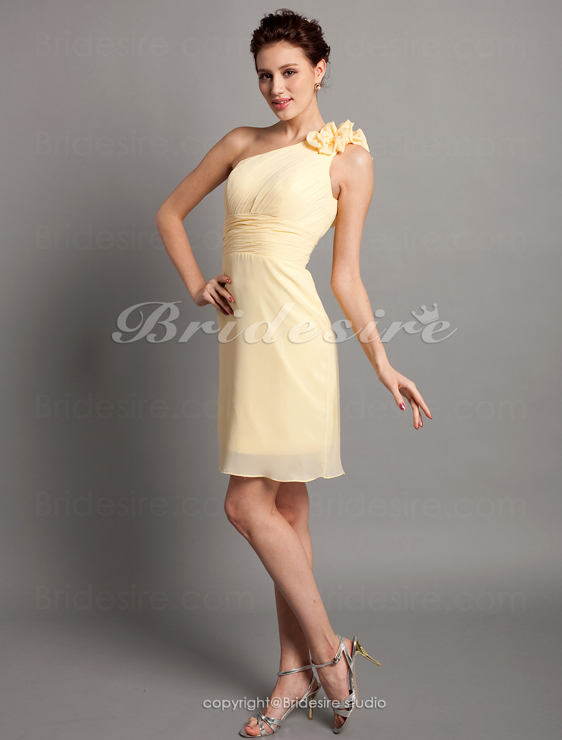 Sheath/ Column Chiffon Over Satin Knee-length One Shoulder Bridesmaid Dress